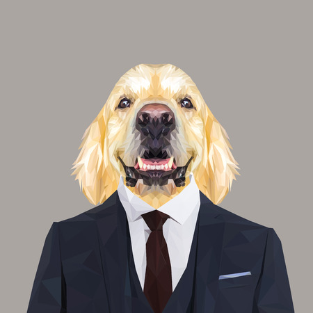 Golden retriever dog animal dressed up in navy blue suit with red tie. Business man. Vector illustration.