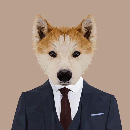 akita: Akita dog animal dressed up in navy blue suit with red tie. Business man. Vector illustration. Illustration