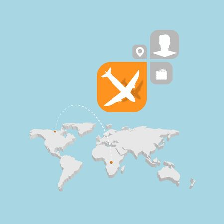 Traveling map with airplane infographics  concept. Vector illustration. Illustration