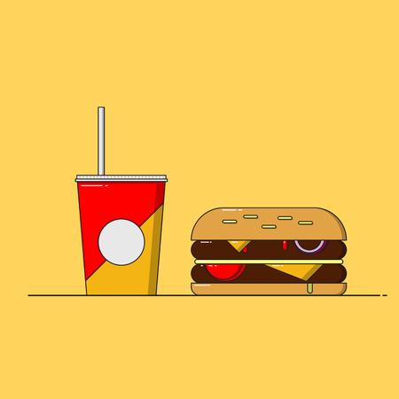 sesame: Junk food burger and coke. Flat design vector illustration.