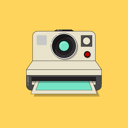 taking picture: Vintage camera taking picture. Flat design vector illustration.