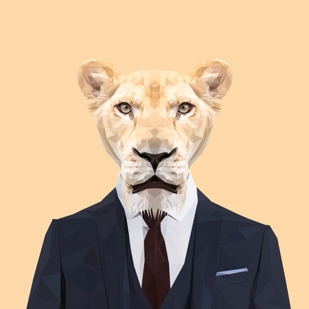 lioness: Lioness cat animal dressed up in navy blue suit with red tie. Business man. Vector illustration. Illustration