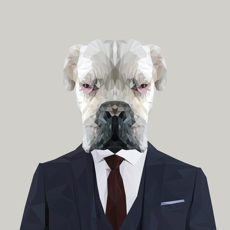 boxer dog: White boxer dog animal dressed up in navy blue suit with red tie. Business man. Vector illustration.