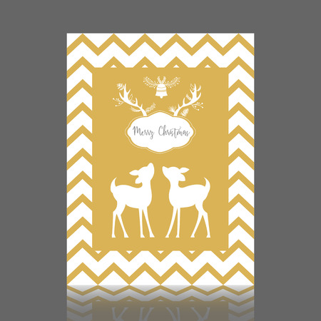 Gold Christmas greeting card with bell and bambi. Vector illustration. Illustration