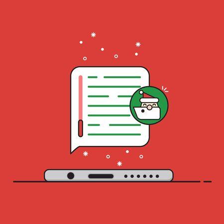 Frontansicht Des Weihnachts Telefon Getrennt. Neujahr Symbole In ...