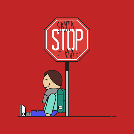 stoppage: Santa stop here sign made by a child. Flat design vector illustration.