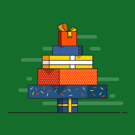 chrismas: Chrismas tree made from wrapped gifts. Flat design vector illustration.