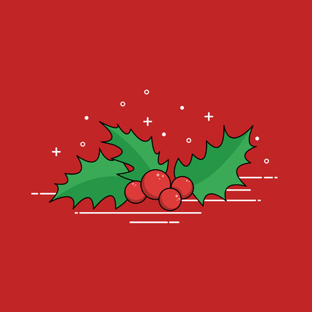 Christmas traditional mistletoe. Flat design vector illustration. Illustration