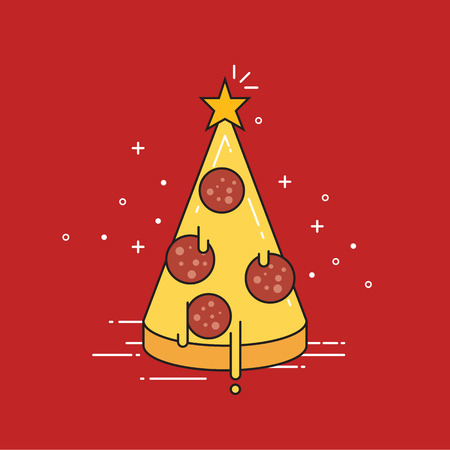 Pizza Christmas tree with star on top. Flat design vector illustration. Illustration