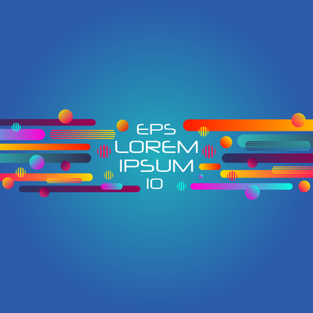 Abstract retro background with horizontal multicolored geometric shapes like space. Vector illustration.