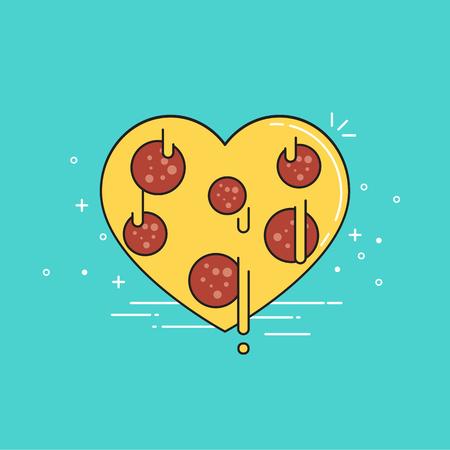 Pizza heart. Valentine's day. Vector illustration. 矢量图像