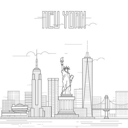 New York avec des bâtiments emblématiques. Dessin au trait plat art. Illustration vectorielle
