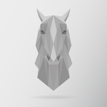 Horse animal low poly design. Triangle vector illustration. 向量圖像