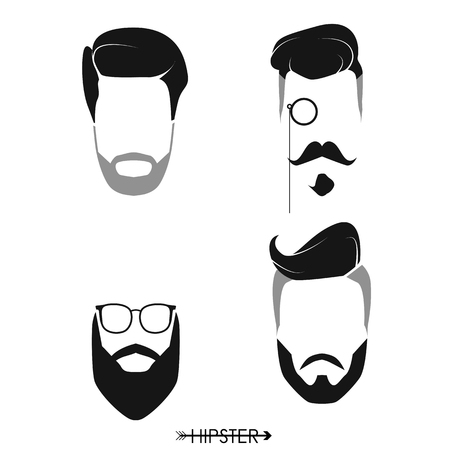 Set of hipster man haircuts, beards, mustaches. Simple design for logo, silhouette. Vector illustration. Ilustração
