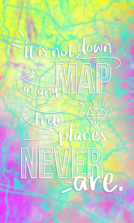It is not down in any map, true places never are. Inspirational quote on abstract map background. Stock Photo