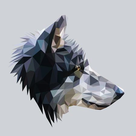 늑대 낮은 폴리 디자인.