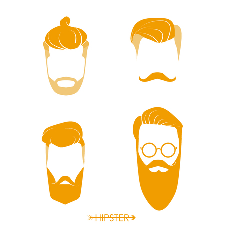 Set of hipster man haircuts, beards, mustaches. Simple design for logo, silhouette. Vector illustration. Illustration