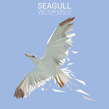 Seagull bird low poly design. 일러스트