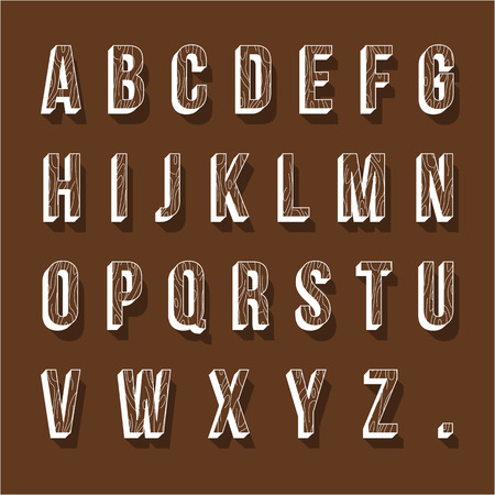 Set of wood alphabet letters. Vector illustration.
