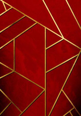 황금 선 및 빨간색 형상 패턴으로 현대적이 고 세련 된 추상 디자인 포스터.