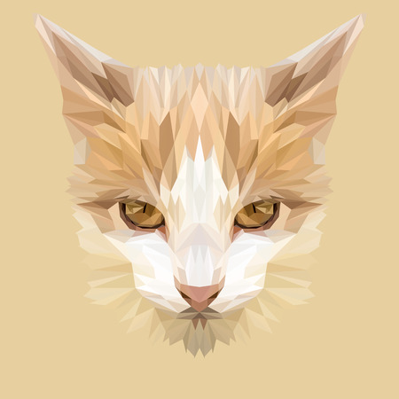 A Cat low poly design. Triangle vector illustration.
