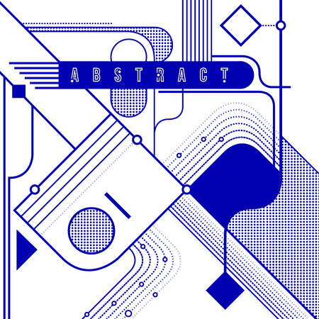 Abstract geometric background. Blue shapes and lines. Vector illustration.