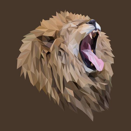 Lion low poly design. Triangle vector illustration.  イラスト・ベクター素材