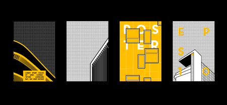 Architecture conceptual drawings. Colorful backgrounds. Applicable for Banners, Placards, Posters, Flyers. Vector illustration.