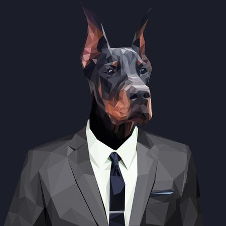 Doberman dog dressed in a suit. Elegant classy style. Vector illustration.