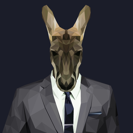 Kangaroo dressed in a suit. Elegant classy style. Vector illustration.