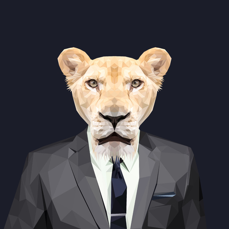 Lioness dressed in a suit. Elegant classy style. Vector illustration.