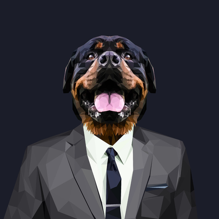 Rottweiler dog dressed in a suit. Elegant classy style. Vector illustration. Illustration