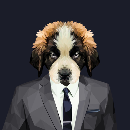 Saint Bernard dog dressed in a suit. Elegant classy style. Vector illustration.