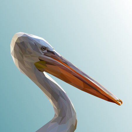 White pelican bird animal low poly design. Triangle vector illustration.  イラスト・ベクター素材