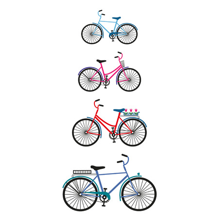 Vector set of four bicycles for family.