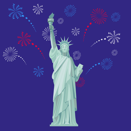 Statue of Liberty on the background of the night sky with fireworks. Vector color illustration.