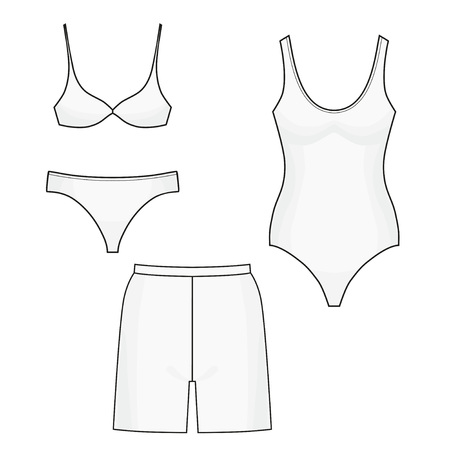 One-piece swimsuit, bikini and swim shorts. Vector graphical icons isolated illustration on white background.
