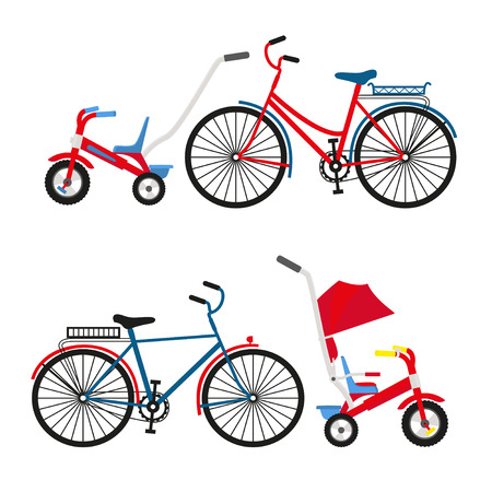 Bicycle Set for family ride. Set riding bikes isolated on white background. Bike for man, woman, boy, girl. Vector flat colorful illustration Ilustrace