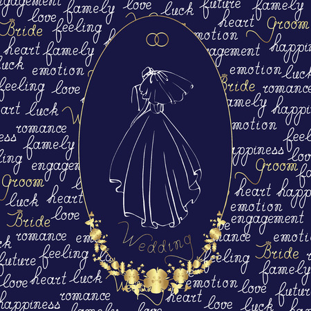 The bride in a long dress and veil with the groom. Vector isolated illustration in oval frame on the background of hand lettering. .