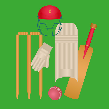 Cricket Icons Set Vector. Cricketer Accessories. Bat, Gloves, Helmet, Ball. Isolated Flat Cartoon colorful Illustration Illustration