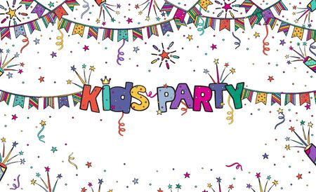 Kids party colorful vector banner in cartoon style with an inscription and free space on white background.