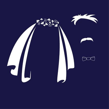 Bride and groom. Veil, bow tie and mustache as symbols of the bride and groom. Vector icon. Standard-Bild - 137774441