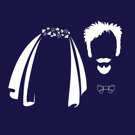 Bride and groom. Wedding veil, glasses, mustache, bow tie funny characters. Vector icons in a flat style.