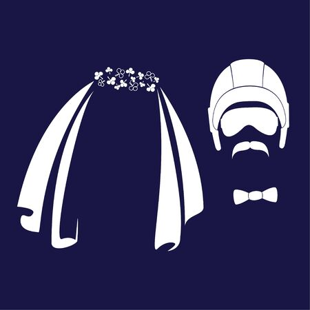 Bride and groom. Wedding veil, helmet, glasses, mustache funny characters. Vector icons in a flat style.