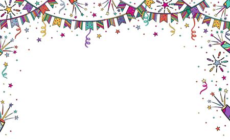 Festive background for birthday, children's party with garlands, fireworks. Bright vector illustration banner with free place for text on white background. Illustration