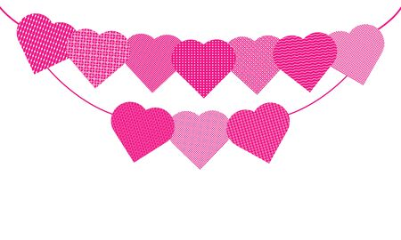 Festive garland with pink hearts with various white geometric patterns. Template vector banner isolated on a white background.