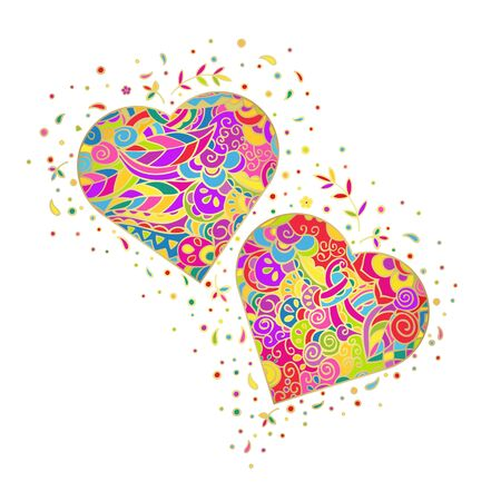 Two hearts. Colorful illustration with golden gradient isolated vector on a white background. Hand drawing with doodle style.