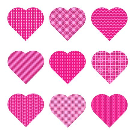 Pink hearts with various white geometric patterns. Set of 9 vector icons isolated on white background. Ilustrace