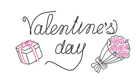 Holiday banner, card for Valentines Day with the inscription, gift box and a bouquet of roses. Cute characters and holiday signs. Linear hand drawing. Isolated vector illustration on white background Ilustracja