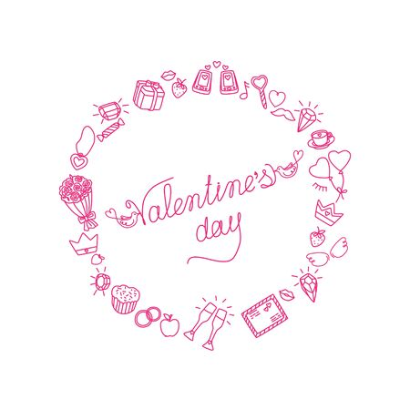 Round frame for Valentines Day. Cute characters and holiday signs. Linear hand drawing. Isolated vector illustration on white background. Ilustracja